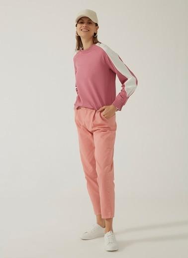 People By Fabrika Kadın Kontrast Detaylı Sweatshirt PFKAW20SW0028 Gül Kurusu